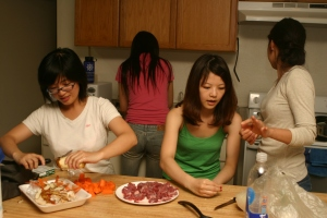 Pamela, Justine, Grace, and Tomomi